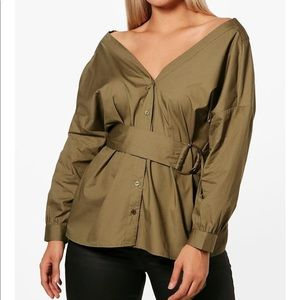 Tops - Off the shoulder belted shirt plus size